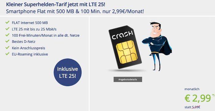 Vodafone Flat von Crash mit 100 Freiminuten + 500MB mit LTE nur 2,99€mtl.