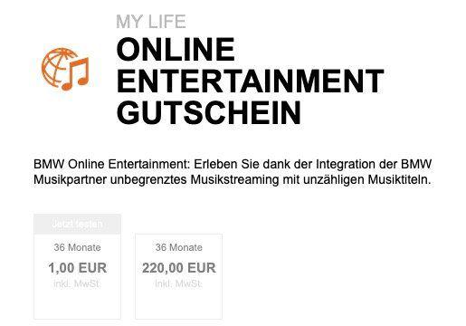 BMW Online Entertainment 36 Monate für 1€ (statt 220€)