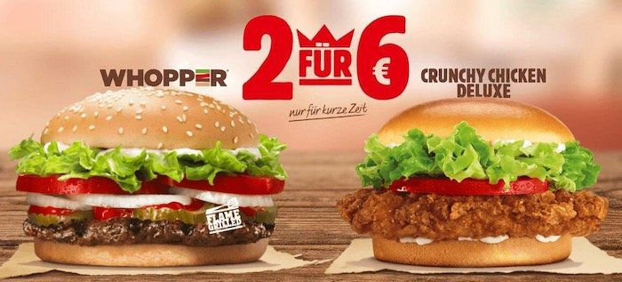 Burger King: Crunchy Chicken Deluxe und Whopper im Bundle für 6€