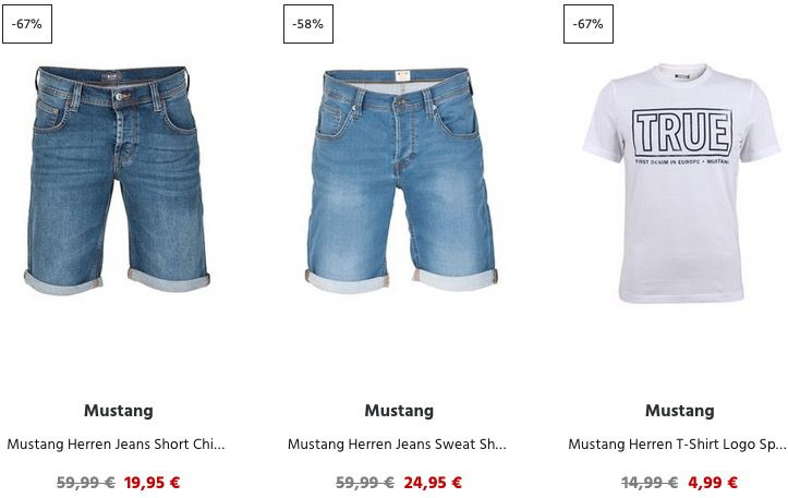 Jeans Direct: Sommer Sale mit 20% Extra Rabatt   z.B. Mustang Jeans Shorts ab 15,96€