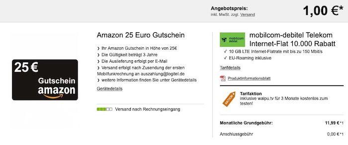 Telekom Datentarif mit 10GB LTE für 11,99€ mtl. + 3 Monate waipu + 25€ Amazon + keine Anschlussgebühr