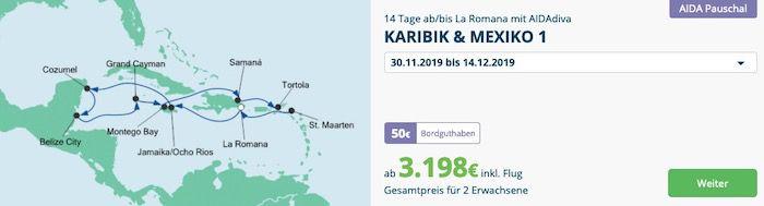 🚢 AIDA Pauschalreise Angebote z.B 14 Tage Karibik & Mexiko ab 1.599€ p.P. inkl. Flug
