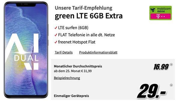 Huawei Mate20 Pro für 29€ + Telekom oder Vodafone Allnet Flat mit 6GB LTE für 16,99€ mtl.