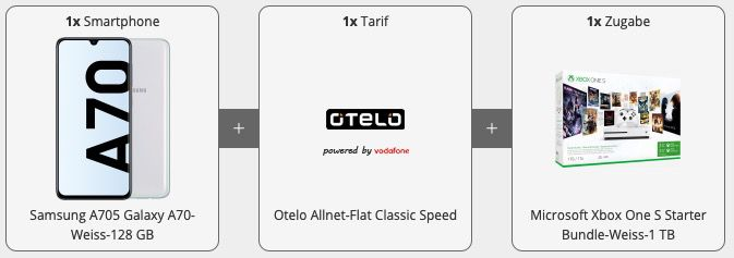 Galaxy A70 + Xbox Bundle für 169€ mit Otelo Vodafone Allnet Flat mit 7GB LTE für 24,99€ mtl.