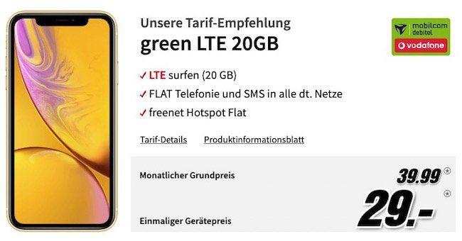 Apple iPhone XR 256GB für 29€ + Vodafone Allnet Flat mit 20GB LTE für 39,99€ mtl.