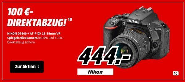 Nikon D5600 Kit   DSLR Kamera mit 18 55 mm Objektiv für 444€ (statt 544€)
