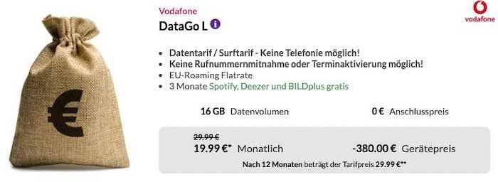 Vodafone DataGo L mit 16GB LTE für 24,99€ mtl. + 380€ Auszahlung + wireless In Ear Kopfhörer (Wert 79€)