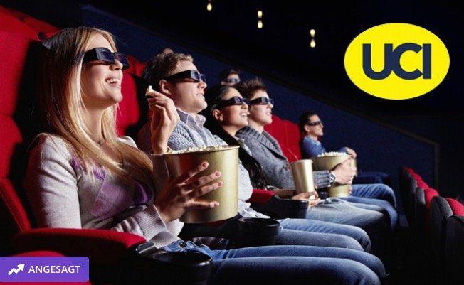 2 UCI Kino Tickets für alle 2D Filme inkl. Film  und Platzzuschlag für 14,50€ oder 5 Tickets für 34,50€