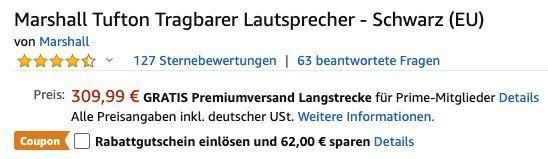 Vorbei! Marshall Tufton Tragbarer Lautsprecher für 247,99€ (statt 312€)