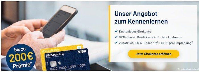 1822direkt kostenloses Girokonto + 100€ Prämie + weitere 100€ für eine Empfehlung
