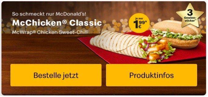 Royal Käse, Filet O Fish, McChicken, McRib oder McWrap Chicken je nur 1,99€ (statt 4€ oder mehr)