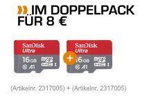 SANDISK Ultra Micro SDHC Speicherkarte 16GB im Doppelpack für 9,99€ (statt 15€)