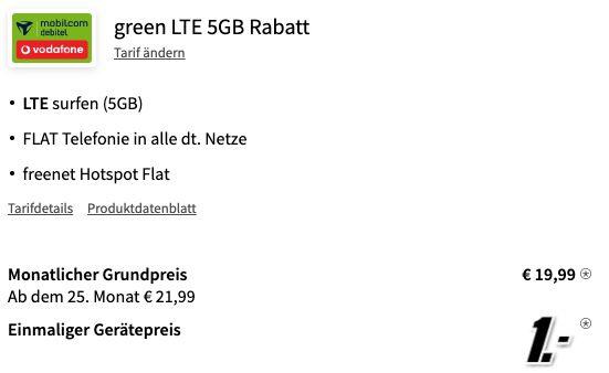 Samsung Galaxy Note 10 für 1€ + Vodafone Flat mit 10GB LTE für 19,99€ mtl.