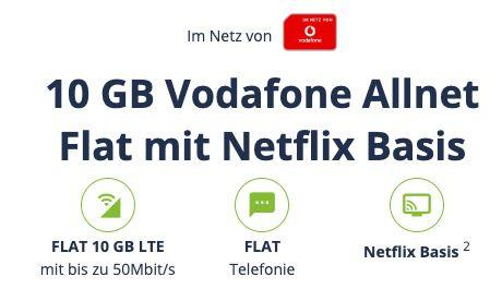 Vodafone Allnet Flat mit 10GB LTE inkl. VoLTE & WiFi Call für 19,98€ mtl. + 24 Monate Netflix Basis gratis