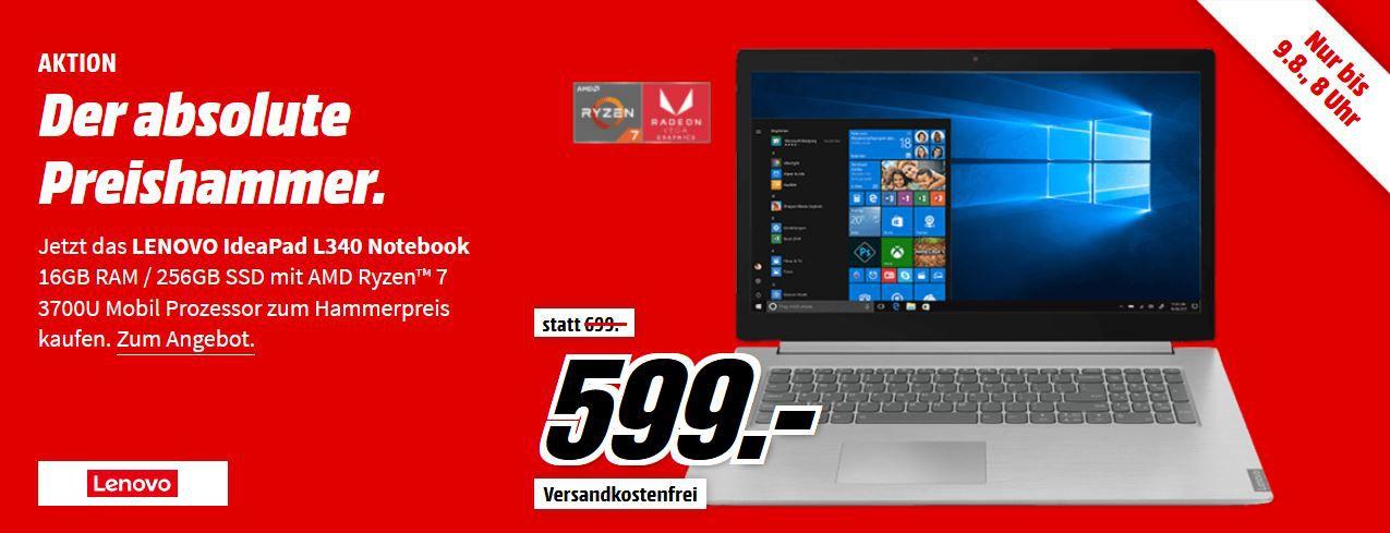 LENOVO IdeaPad L340   17.3 Zoll Ryzen 7 Notebook mit 16GB, Radeon RX Vega 10 für 599€ (statt 704€)