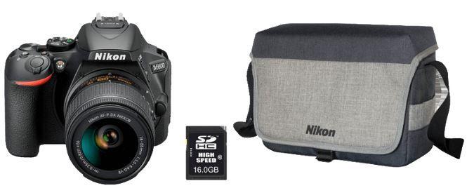 Ausverkauft! NIKON D5600 SLR + Objektiv 18 55 mm +16GB Speicher + Tasche + Reinigungsset für 379€ (statt 529€)