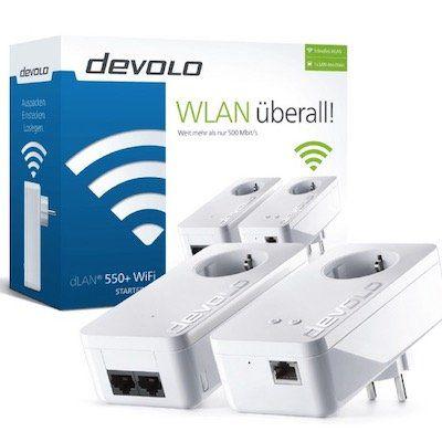 Powerline Adapter DEVOLO dLAN 550+ WiFi Starter Kit für 74,99€ (statt 99€)