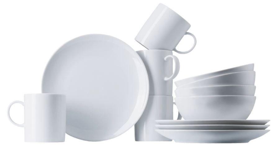 THOMAS PORZELLAN Basic   12 tlg. Frühstücks Set für 4 Personen Weiß für 37€ (statt 65€)