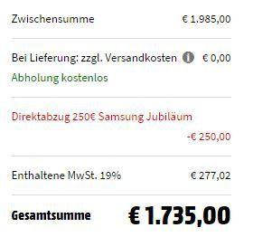 SAMSUNG QE65 The Frame mit 163 cm (65 Zoll) für 1.735€ (statt 1.839€)