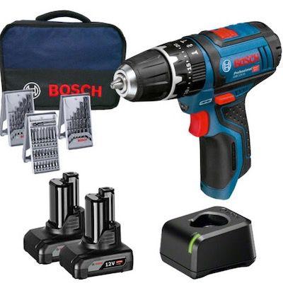 Abgelaufen! Bosch Akku Schlagbohrschrauber GSB 12V 15 inkl. 2x 4,0Ah Akkus + Ladegerät + Zubehör für 114,95€ (statt 139€)