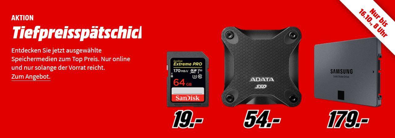 Media Markt Speicher Tiefpreisspätschicht: z.B. PNY Elite Micro SDXC 512 GB für 85€ (statt 101€)