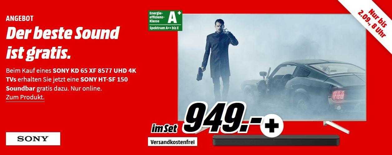 SONY KD 65XF8577   65 Zoll UHD Android smart TV + Sony HT SF150 Sounbar für 949€ (statt 1.134€)