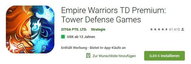 Android: Empire Warriors kostenlos (statt 0,59€)