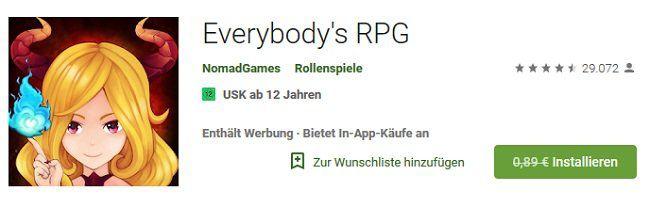 Android: Everybodys RPG kostenlos (statt 0,89€)