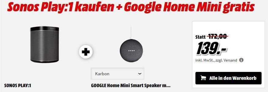 Sonos PLAY:1 WLAN Lautsprecher + Google Home Mini für 143,99€ (statt 182€)
