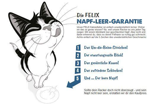 Bei Unzufriedenheit: Felix Katzenfutter von Purina kostenlos