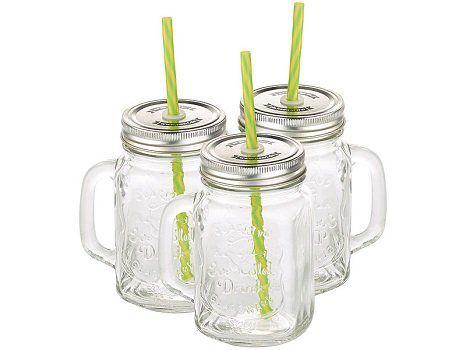 PEARL:  Kostenlos 3 Retro Trinkgläser mit Henkel, Deckel und Trinkhalm