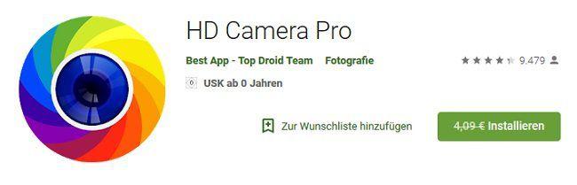 Android: HD Camera Pro gratis (statt 4€)