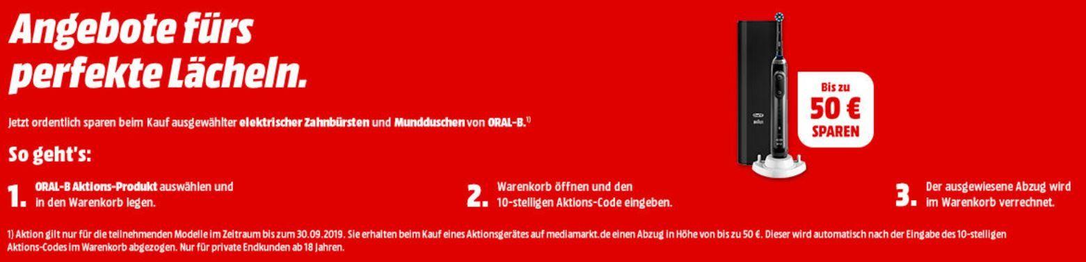 Media Markt & Saturn: Oral B mit bis 50€ Sofortrabatt   z.B. ORAL B PRO 1 200 eZahnbürste für 29,99€ (statt 39,99€)