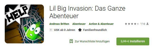 Android: Lil Big Invasion: Das Ganze Abenteuer gratis (statt 2,99€)