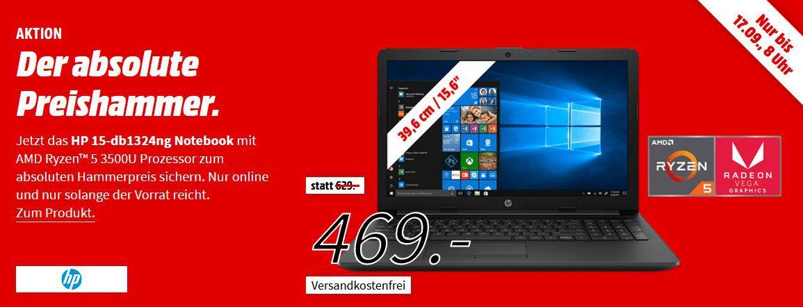 HP 15 db1324ng Notebook mit 15.6, Ryzen5, 12GB RAM, 1TB HDD, 128GB SSD, Vega8 für 469€ (statt 634€)