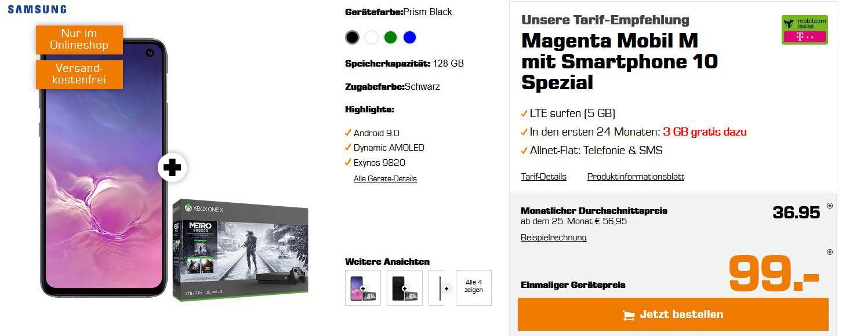 🔥 Samsung Galaxy S10e + Xbox One X 1TB Metro Exodus Bundle nur 99€ + Telekom AllNet & SMS Flat mit 8GB LTE 300 für 36,99€ mtl.