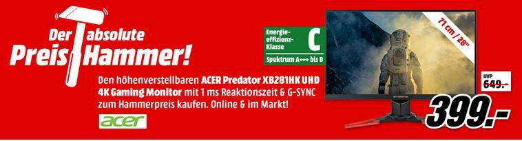 Acer Predator XB281HK   28 Zoll UHD Gaming Monitor (1ms, G SYNC, 60 Hz) ab 399€ (statt 443€)