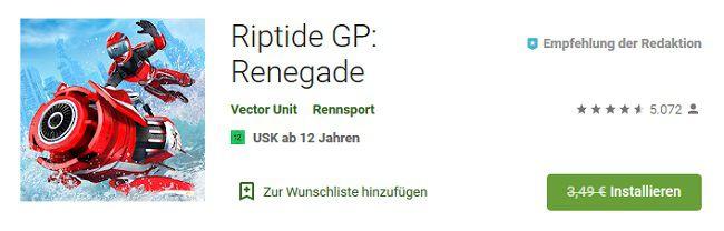 Android/iOS: Riptide GP: Renegade kostenlos (statt 3,49€)