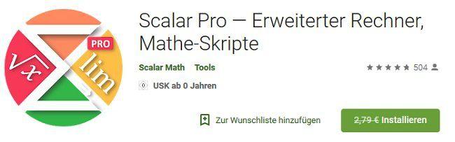 Android: Scalar Pro — Erweiterter Rechner, Mathe Skripte gratis (statt 2,79€)