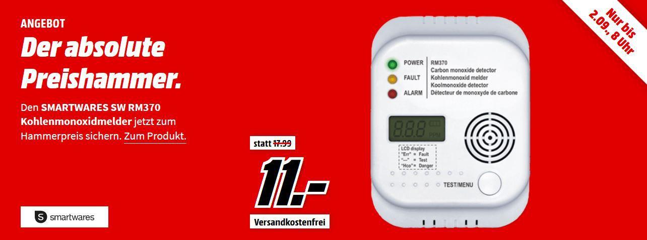 Smartwares RM370 Kohlenmonoxid Melder für 11€ (statt 18€)
