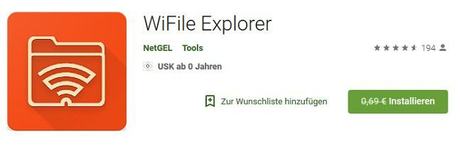 Android: WiFile Explorer kostenlos (statt 0,69€)