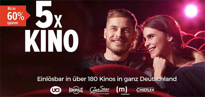 5 Kino Tickets (CineStar, CinePlex, UCI, Kinopolis) für 29,90€