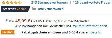 Arbily ID205 Smartwatch mit Herzfrequenzmessung, GPS & mehr für 25,99€ (statt 46€)