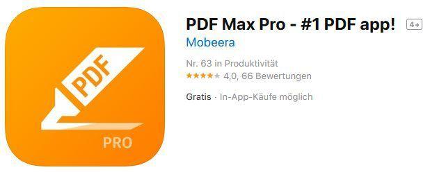 PDF Max Pro kostenlos (iOS) (statt 4,49€)