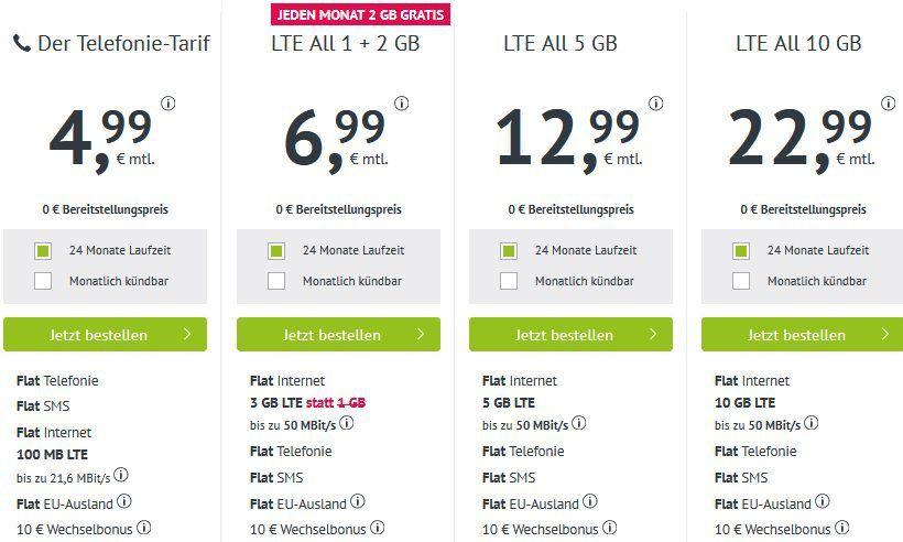 o2 Allnet + 3GB LTE für 6,99€   monatlich kündbar