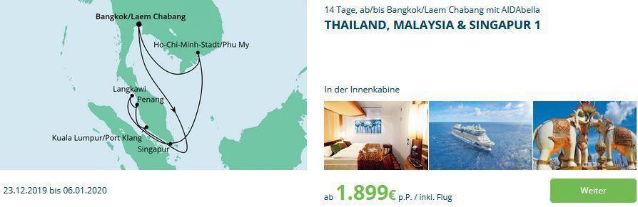 ⚓ Neue AIDA Angebote z.B. 14 Tage Thailand, Malaysia & Singapur ab 1.899€ p.P. inkl. Flug