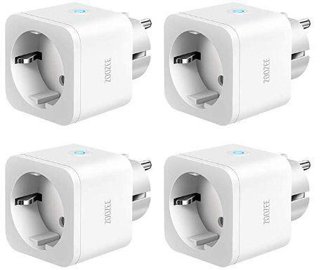ZOOZEE   4er Pack WLAN smart Steckdosen (Alexa, Google Home, etc.) für 28,99€ (statt 34€)