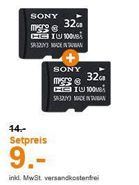 Doppelpack SONY Performance microSDXC 2 x 32GB Karten für 9€ o. 2 x 64GB für 18€ (statt 32€)