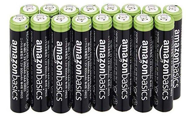 Ausverkauft! 16er Pack AmazonBasics AAA Batterien (wiederaufladbar) ab 7,41€ (statt 17€)