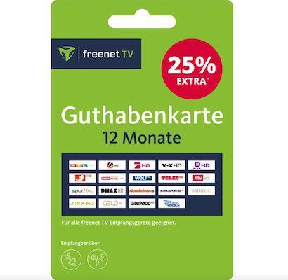 freenet TV Guthabenkarte (12 Monate) für 55,20€ (statt 68€)